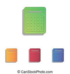 アイコン, 単純である, 計算機, colorfull, アップリケ, 印。, set.