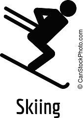 アイコン, 単純である, style., スキー