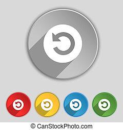 アイコン, 印。, シンボル, 上に, 5, 平ら, buttons.