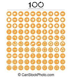 アイコン, 印, 基本, セット, 矢, 100