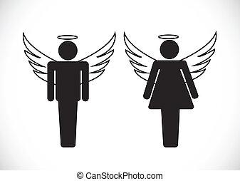 アイコン, 印, 天使, pictogram, シンボル