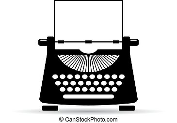 アイコン, 古い, タイプライター