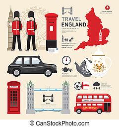 アイコン, 合併した, 旅行, concept., ロンドン, ベクトル, デザイン, 平ら, 王国