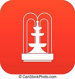 アイコン, 噴水, 赤, デジタル
