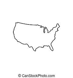 アイコン, 地図, スタイル, アウトライン, アメリカ