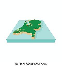 アイコン, 地図, スタイル, netherlands, 漫画