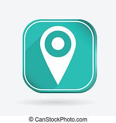 アイコン, 地図, 広場, 位置, ピン