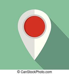 アイコン, 地図, style., ピン, 平ら