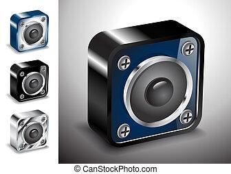 アイコン, 声, 音, ベクトル, 3d, ボタン