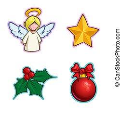アイコン, -, 天使, セット, 西洋ヒイラギ, 星, ボール, クリスマス