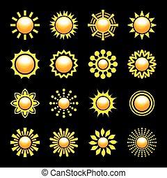 アイコン, 太陽, set., イラスト, ベクトル, グロッシー