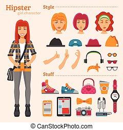 アイコン, 女の子, 特徴, 装飾用である, セット, 情報通