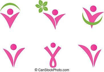 アイコン, 女, 抽象的, -, 隔離された, セット, 緑, フィットしなさい, ピンク, 白