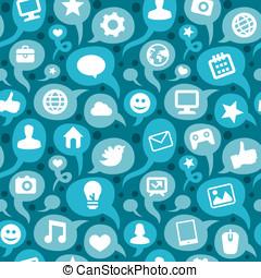 アイコン, 媒体, seamless, ベクトル, 社会, パターン