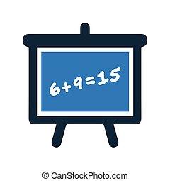 アイコン, 学校, 教育, 黒板, 青, クラス, 板, 黒板, 色