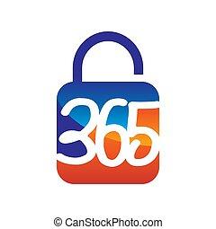 アイコン, 安全である, 錠, ロゴ, デザイン, 無限点, イラスト, 365, ベクトル