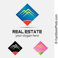 アイコン, 実質, ロゴ, 家, 財産