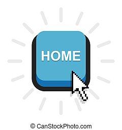 アイコン, 家, ボタン, vector.