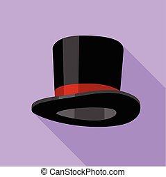 アイコン, 平ら, シリンダー, 帽子, スタイル