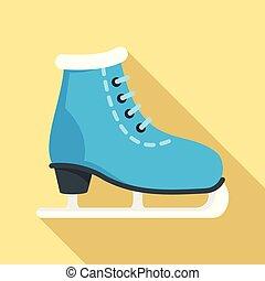 アイコン, 平ら, スタイル, スケート, 氷