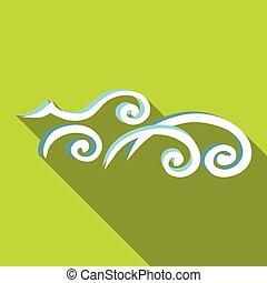 アイコン, 平ら, スタイル, 海洋 波