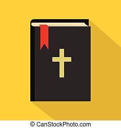 アイコン, 平ら, スタイル, 聖書