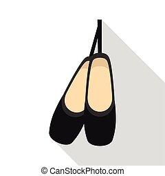 アイコン, 平ら, スタイル, pointe, 靴