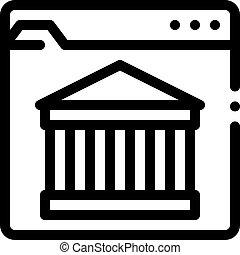 アイコン, 建物, 網, イラスト, サイト, アウトライン, 古代, ベクトル
