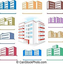 アイコン, 建物, multistoried, サイト