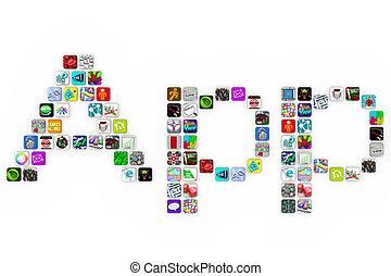 アイコン, 形態, apps, 背景, -, タイル, 単語, 白