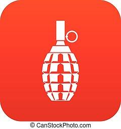 アイコン, 手榴弾, 赤, デジタル