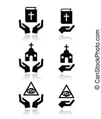 アイコン, 手, 聖書, -, 宗教