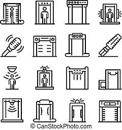 アイコン, 探知器, スタイル, 金属, セット, アウトライン