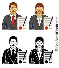 アイコン, 文書, notary, 隔離された, マレ, 白, 切手, ベクトル, 女性, 公認, セット, 背景, ペン
