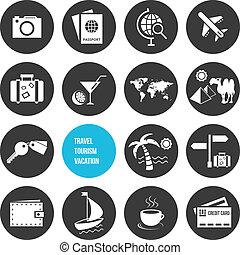 アイコン, 旅行, セット, ベクトル, 観光事業