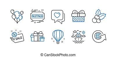 アイコン, 旅行, セット, 船, 空気, balloon., ベクトル, セール, そのような物, ホリデー
