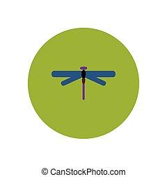 アイコン, 昆虫, 色, 流行, 円, トンボ