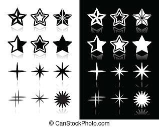 アイコン, 星, 影