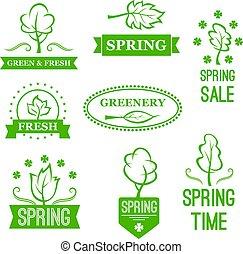 アイコン, 春, 自然, セール, 木, ベクトル, 緑