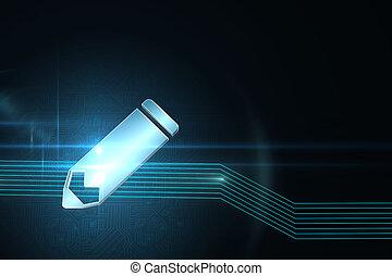 アイコン, 未来派, 背景, 鉛筆