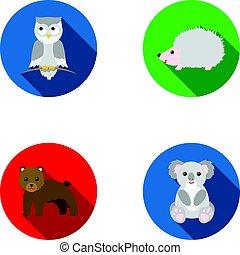 アイコン, 株, スタイル, シンボル, フクロウ, web., 熊, hedgehog., イラスト, セット, コアラ, コレクション, ベクトル, 平ら, 動物