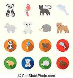 アイコン, 株, スタイル, シンボル, 漫画, web., hedgehog., ヒョウ, イラスト, セット, コアラ, コレクション, ベクトル, 平ら, サイ, 動物