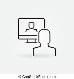 アイコン, 概念, 線, ベクトル, オンラインで, ビデオ, 単純である, 会議