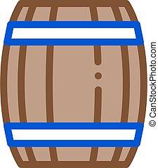 アイコン, 樽, アウトライン, イラスト, ベクトル, 木製である
