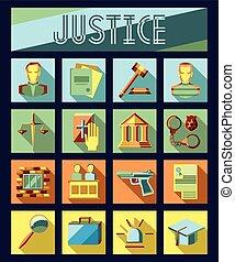 アイコン, 正義, 法律, 刑務所, 法廷, セット, jury., 平ら, 弁護士