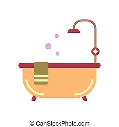 アイコン, 浴室, 平ら, タブ