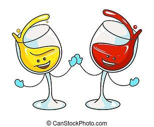 アイコン, 漫画, 平ら, ベクトル, 白, ガラス, 色, 赤, ワイン。, 感情