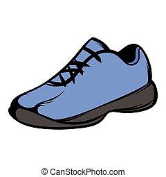 アイコン, 漫画, 靴, 動くこと, 単一, 青