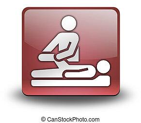 アイコン, 物理的な 療法, ボタン, pictogram