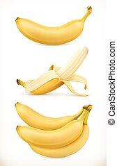 アイコン, 甘い, fruit., イラスト, 現実的, ベクトル, banana., set., 3d